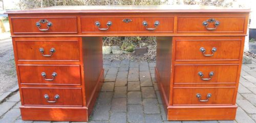 Large Yew Pedestal Writing Desk